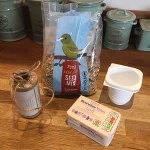 bird feeder ingredients on worktop